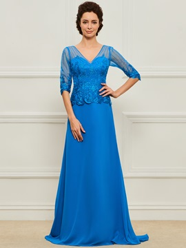 Ericdress Half Sleeves A Line Long Mother of the Bride Dress