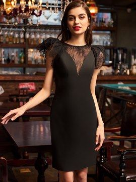 Ericdress Lace Cap Sleeve Short Knee Length Black Cocktail Dress