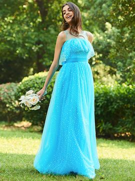 Ericdress A-Line Tulle Long Bridesmaid Dress