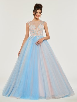 Ericdress Bateau Neck Applique Beaded Ball Quinceanera Dress