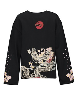 Ericdress Loose Floral Embroideried Pullover Women's Hoodie
