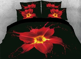 Vivilinen 3D Art Painting Red Lily Printed 4-Piece Black Bedding Sets/Duvet Covers