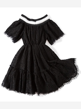 Ericdress Hollow Lace A-Line Girl's Dress