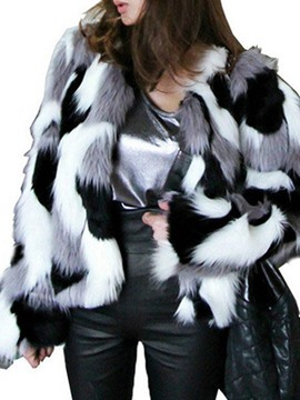 Ericdress Loose Color Block Short Faux Fur Coat