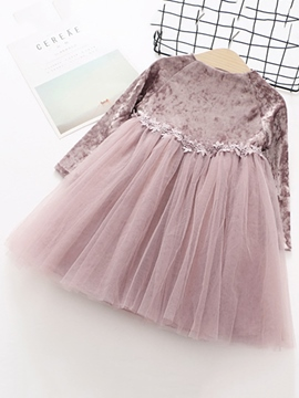 Ericdress Velvet Patchwork Mesh Baby Girl's Dress