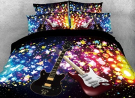 Vivilinen 3D Sparkle Cool Guitar Printed 4-Piece Black Bedding Sets/Duvet Covers