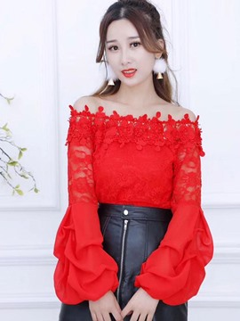 Ericdress Off Shoulder Lace Puff Sleeve Tee Shirt