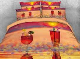 Vivilinen 3D Sparkling Red Cocktail 4-Piece Bedding Sets/Duvet Covers