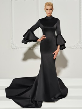 Ericdress Vintage Long Sleeve Mermaid Black Evening Dress