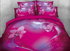 Vivilinen 3D Floral Pink Heart Printed 4-Piece Bedding Sets/Duvet Covers