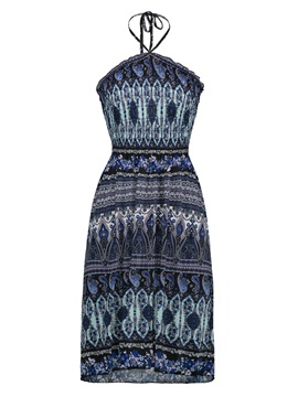 Halter Geometric Pattern Vacation Women's Day Dress