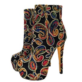 Ericdress Side Zipper Stiletto Heel Women's Embroidered Boots
