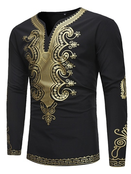 Ericdress African Fashion Dashiki Print Men's Slim Fit T Shirt