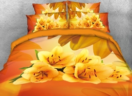 Vivilinen 3D Yellow Lily Printed 4-Piece Bedding Sets/Duvet Covers