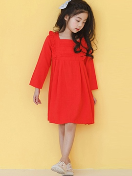 Ericdress Plain Cotton A-Line Girl's Casual Dress