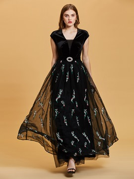 Ericdress Cap Sleeves Embroidery Velvet A Line Evening Dress