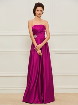Ericdress Strapless A-Line Matte Satin Mother Dress