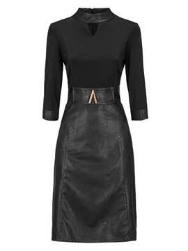 Ericdress Stand Collar Hollow Plain Bodycon Dress