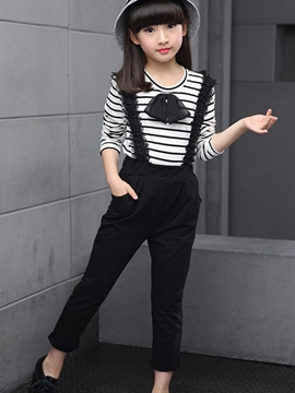Ericdress Stripe T-shirt with Jumpsuit Girls' Outfit