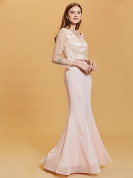Ericdress V Neck Long Sleeves Lace Mermaid Evening Dress