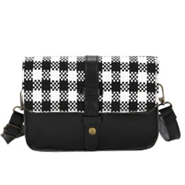 Ericdress Color Block Plaid Canvas Crossbody Bag