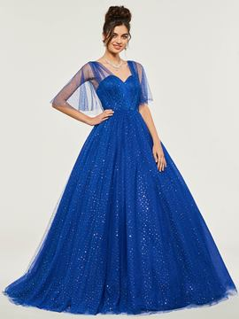 Ericdress Half Sleeve Dot Tulle Backless Ball Quinceanera Dress