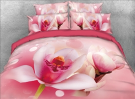 Vivilinen 3D Pink Lotus Printed 4-Piece Bedding Sets/Duvet Covers