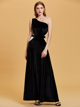 Ericdress One Shoulder Color Contrast A Line Evening Dress