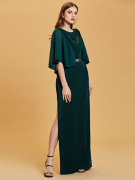 Ericdress Scoop Neck Half Sleeves A Line Evening Dress