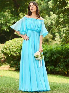 ericdress off-the-shoulder a-line langes Brautjungfernkleid