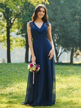 Ericdress V-Neck A-Line Bridesmaid Dress