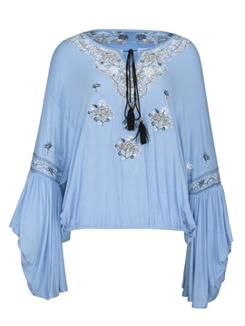 Ericdress Loose Floral Embroideried Flare Sleeve Women's Blouse