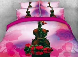 Vivilinen 3D Violin with Red Rose Printed 4-Piece Pink Bedding Sets/Duvet Covers