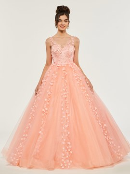 Ericdress Empire V Neck Applique Ball Quinceanera Dress With Deep Back