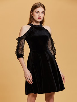 Ericdress Cold Shoulders A Line Velvet Short Black Cocktail Dress