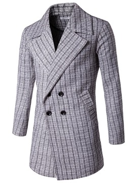 Ericdress Plaid Double-Breasted Men's Trench Coat