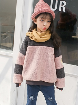 Ericdress Color Block Pullover Fleece Warm Girl's Sweater