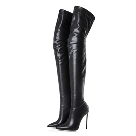 Ericdress Plain Pointed Toe Stiletto Heel Thigh High Boots