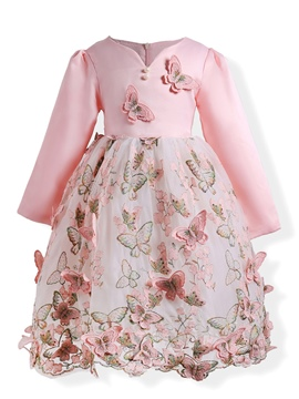 Ericdress Butterfly Embroidery Princess Girl's Dress