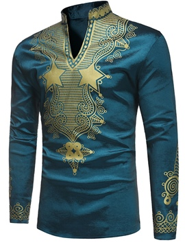 Ericdress Stand Collar Ethnic Print Men's T Shirt