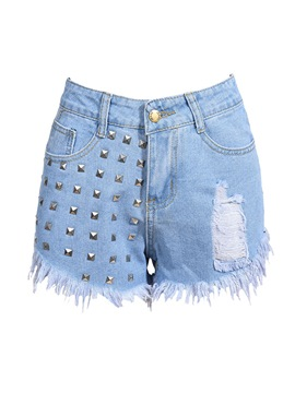 Ericdress Rivet Tassel Women's Denim Shorts