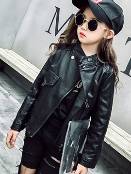 Ericdress Lapel Zipper PU Girls' Jacket