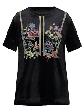 Ericdress Round Neck Floral Embroideried Women's T-shirt