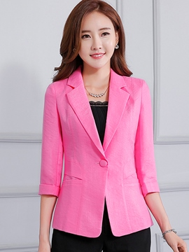 Ericdress Slim One Button Three-Quarter Blazer