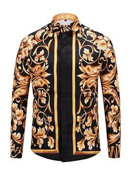 Ericdress Dashiki Lapel Flower Print Long Sleeve Color Block Men's Shirt