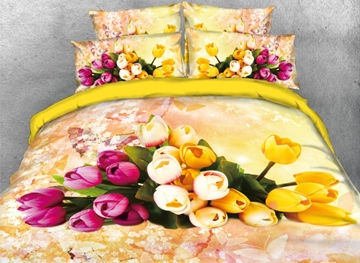 Vivilinen 3D Pink and Yellow Tulip Printed 4-Piece Yellow Bedding Sets/Duvet Covers