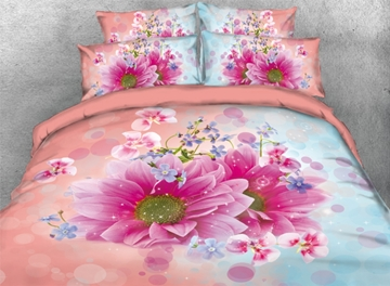 Vivilinen 3D Fancy Pink and Blue Dasiy Printed 4-Piece Bedding Sets/Duvet Covers