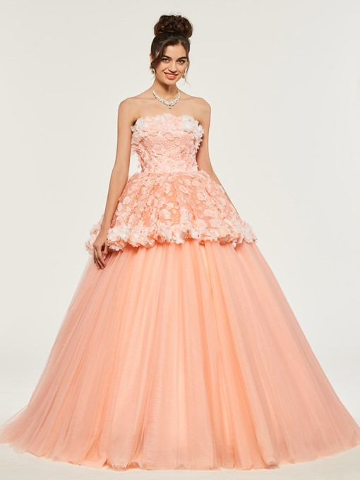 Ericdress Strapless Lace Applique Lace-Up Back Ball Qinceanera Dress