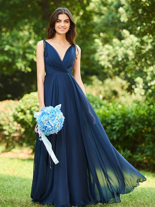 Ericdress V-Neck A-Line Low Back Bridesmaid Dress