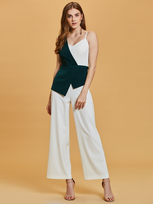 Ericdress One Shoulder Contrast Color Ankle-Length Prom Jumpsuit
